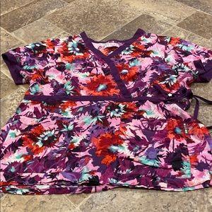 Koi floral scrub top